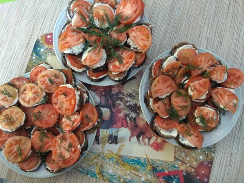 Вкусные мини бутерброды из баклажан