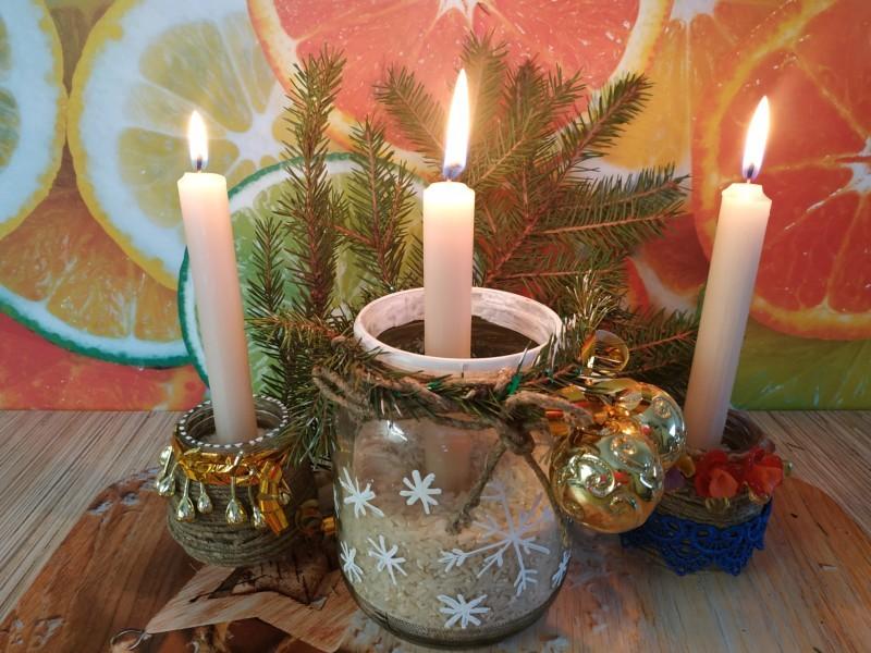 Новогодний подсвечник своими руками из банки на Рождество и Новый год