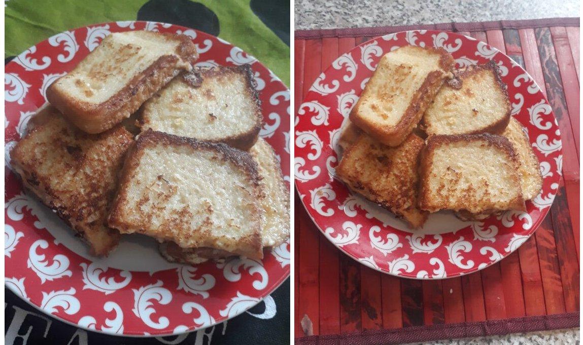 Хлеб с яйцом и молоком на сковороде